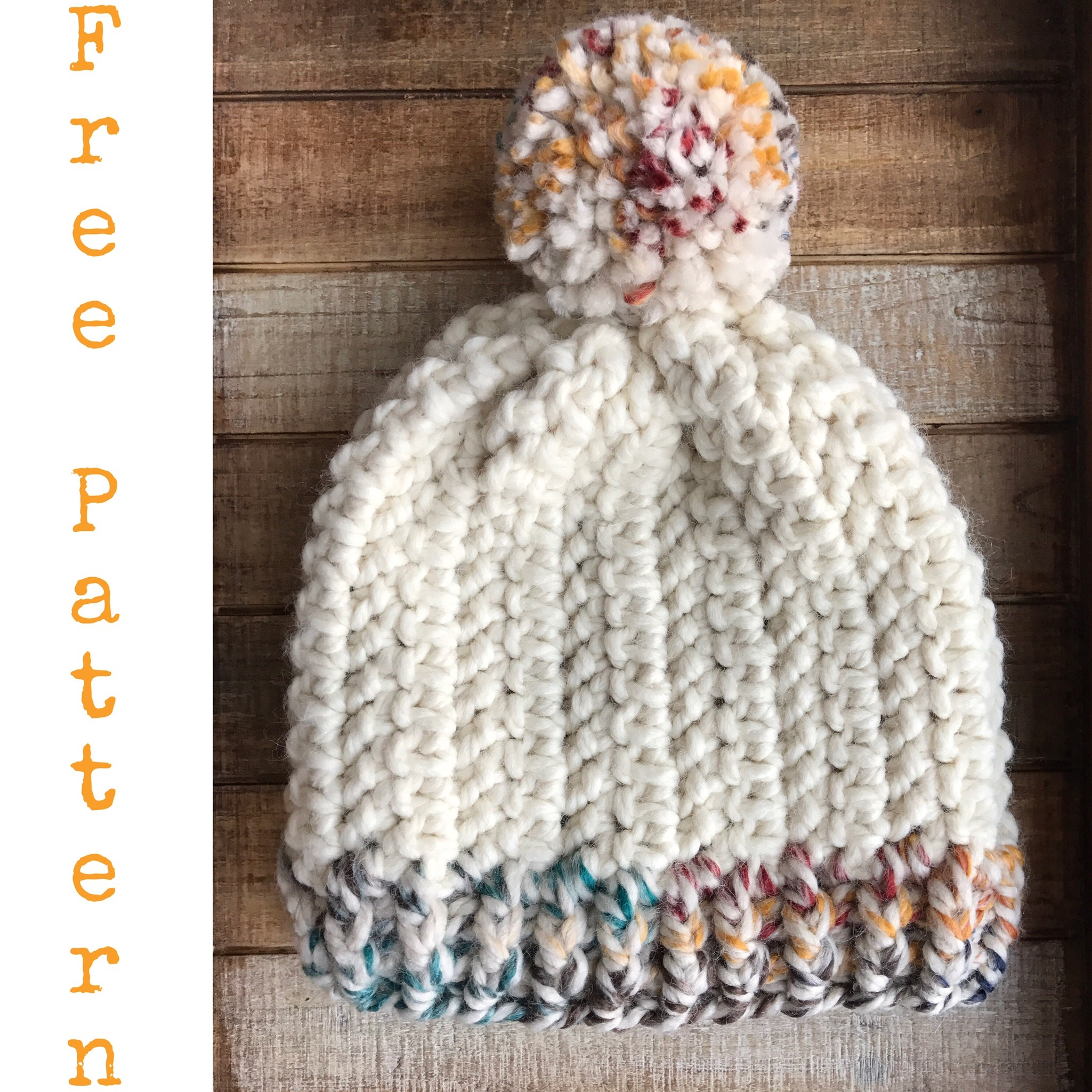 Who else thinks of fruity pebbles when they see the Hudson Bay color from  Lion brand Wool-ease yarn   It s not just me right  That s how this hat got  the ... 578064956710