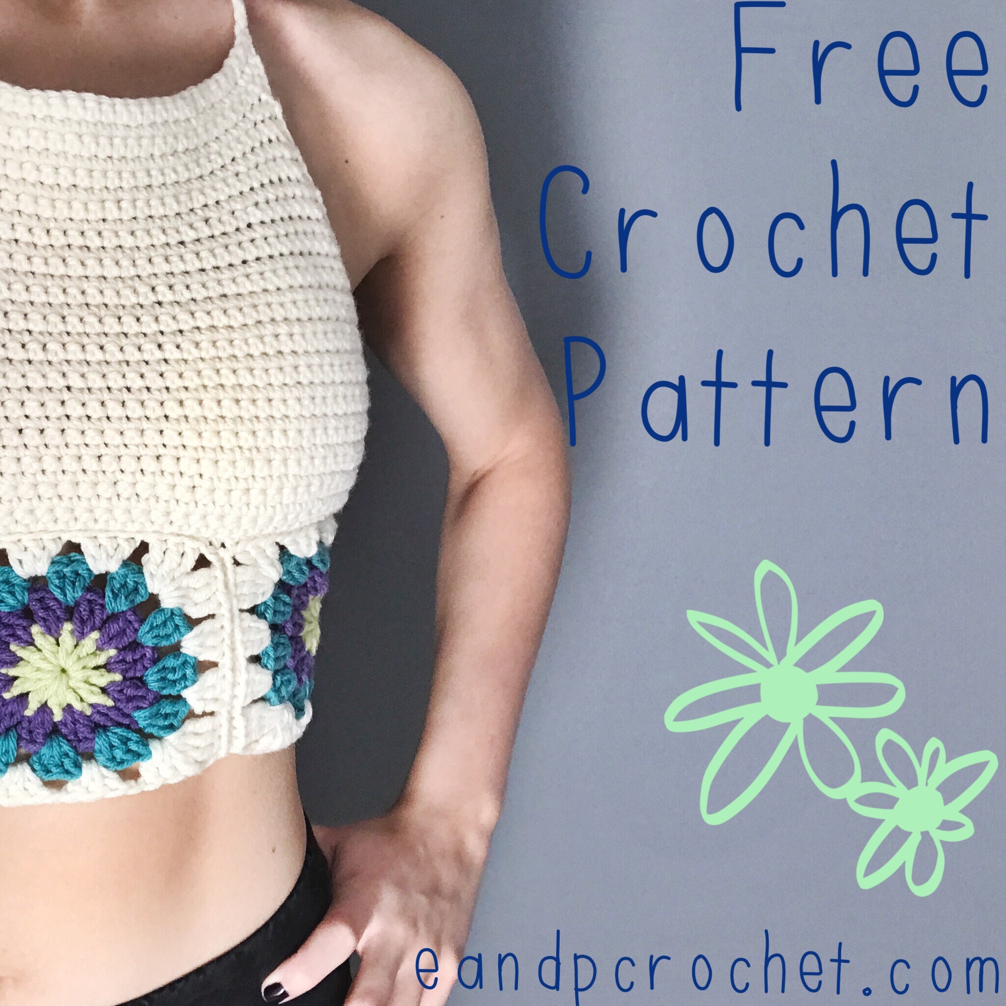 Pattern Granny Square Crop Top Evelyn And Peter Crochet