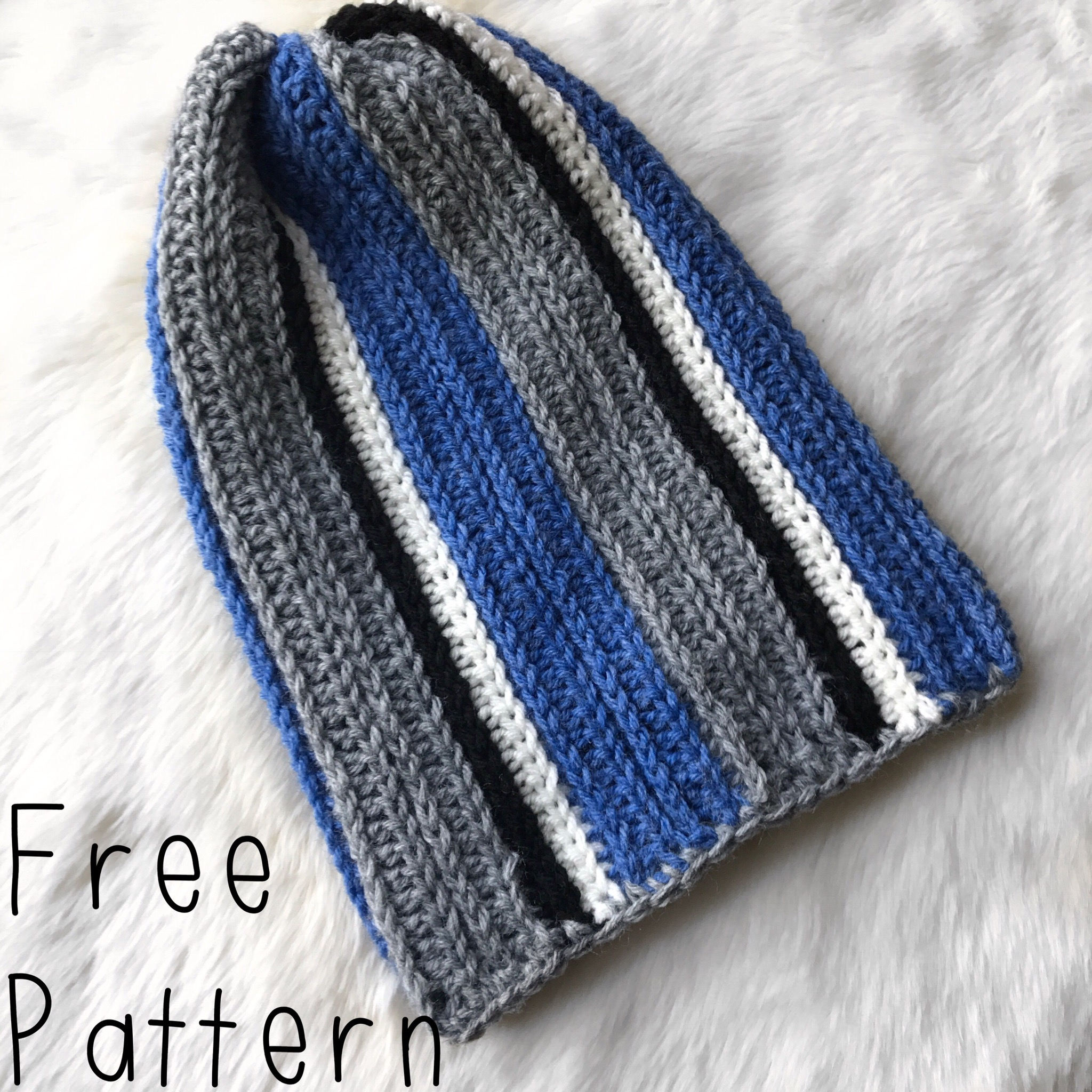 635ef86db70 Every fall my husband asks for a new beanie to wear. This year he requested  one with his football teams colors! This pattern is perfect for customizing  to ...