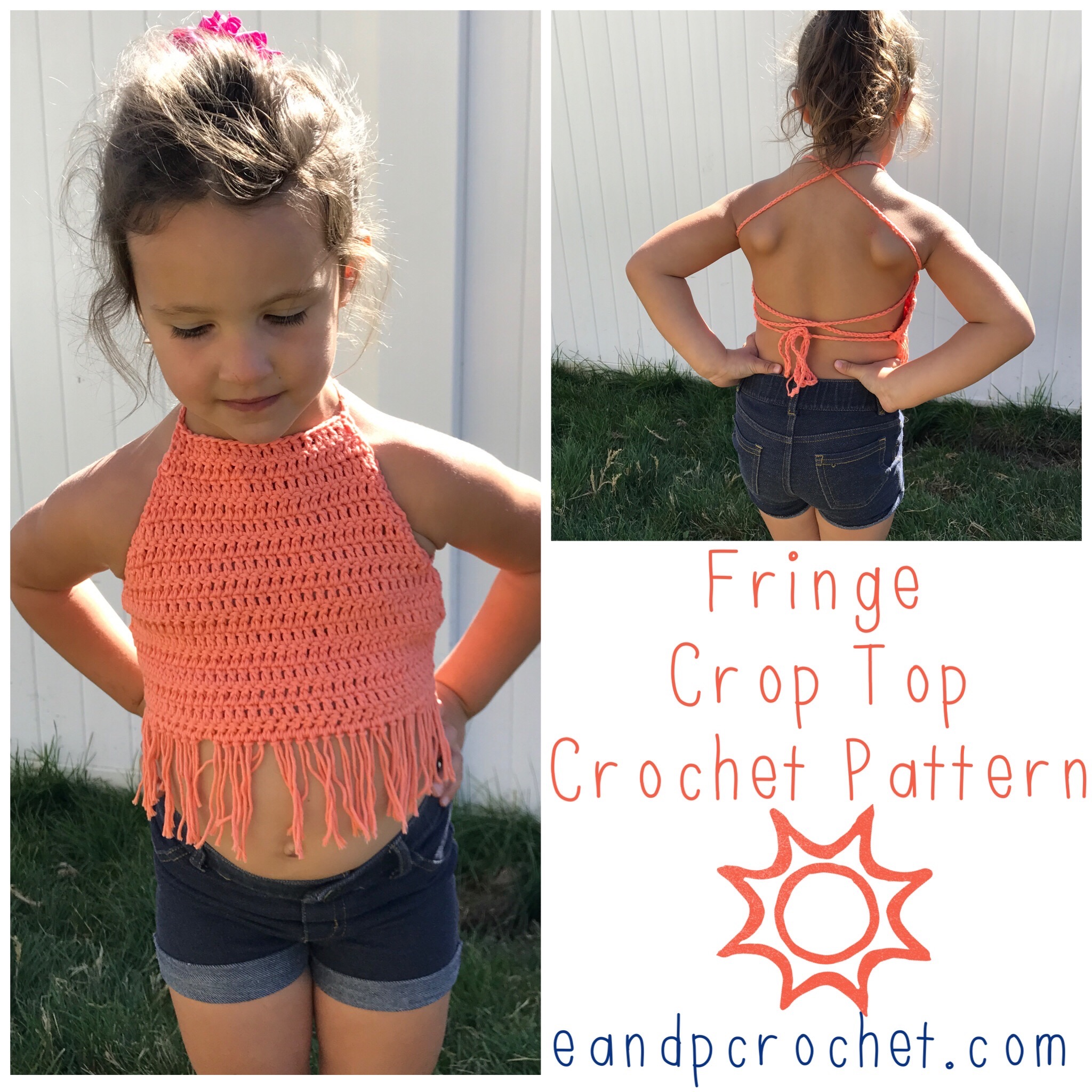 50ed11c869d2dd I was recently requested to write up a pattern for a kids fringe crop top!  Even though it s only 50 degrees out today it s hot in other parts of the  world ...
